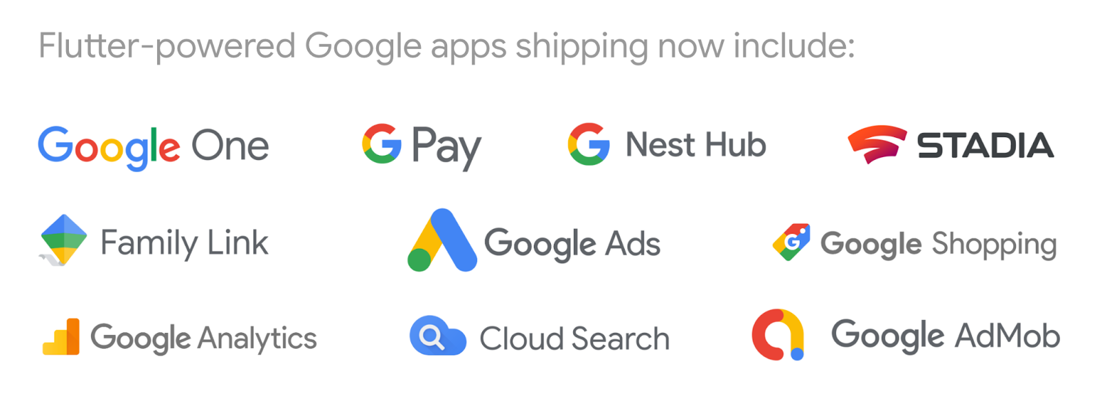 Logos of Google apps powered by Flutter