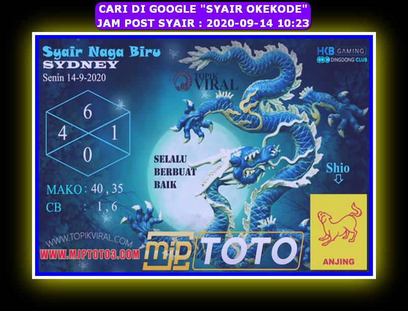 Kode syair Sydney Senin 14 September 2020 169