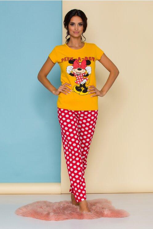 Pijama dama cu tricou galben Minnie Mouse si buline