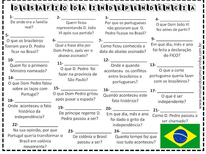 Jogo do desafio da independência do Brasil