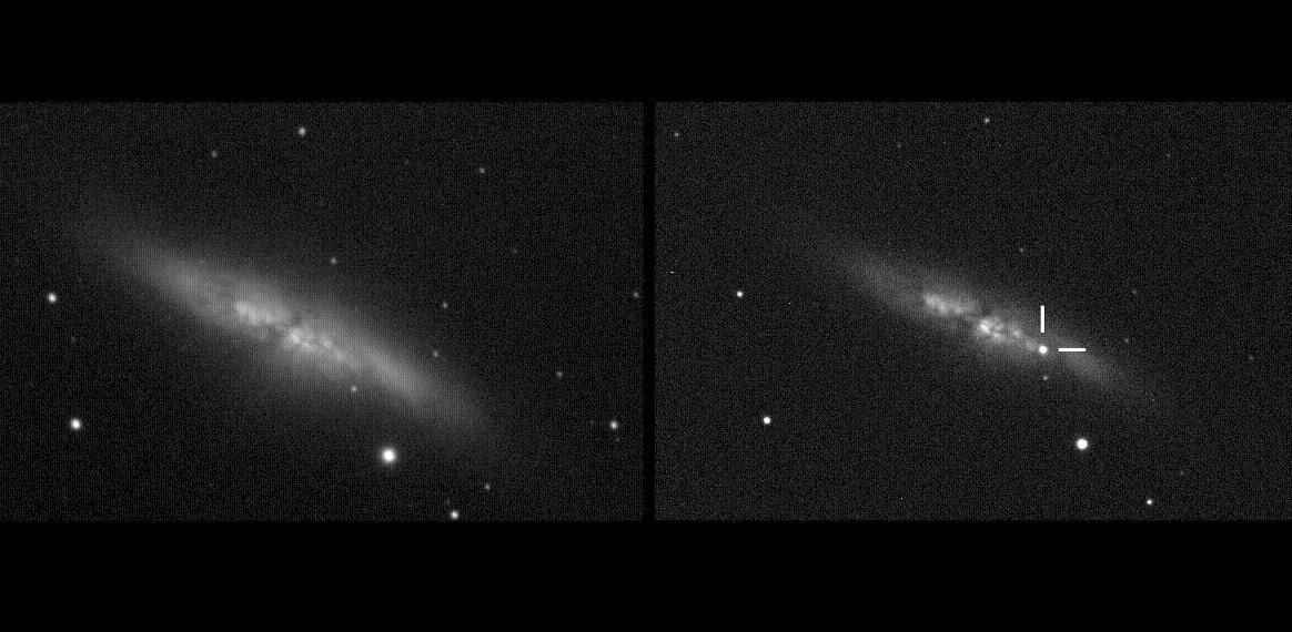 Supernova in M 82 observed by UCL's University of London Observatory. Left: the galaxy on 10 December 2013. Right: the same galaxy at 19:20 UT on 21 Jan 2014, with the supernova labelled. Credit: UCL/University of London Observatory/Steve Fossey/Ben Cooke/Guy Pollack/Matthew Wilde/Thomas Wright