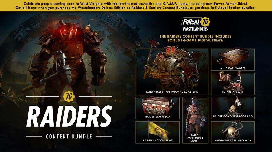 fallout 76 wastelanders free update raider content bundle release date april 7 steam launch pc online action role-playing game bethesda softworks mine car planter raider c.a.m.p. raider stash box raider faction flag raider pathfinder outfit raider conquest loot bag raider pillager backpack raider marauder power armor skin