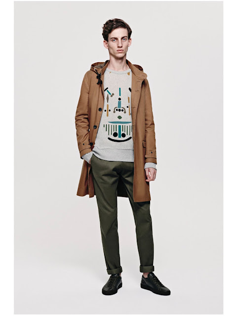 Jijibaba camel coat,patterned sweater and olive chinos