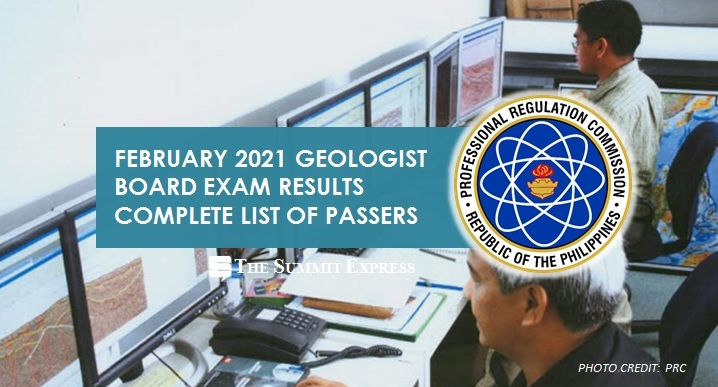 FULL RESULTS: February 2021 Geologist board exam list of passers, top 10