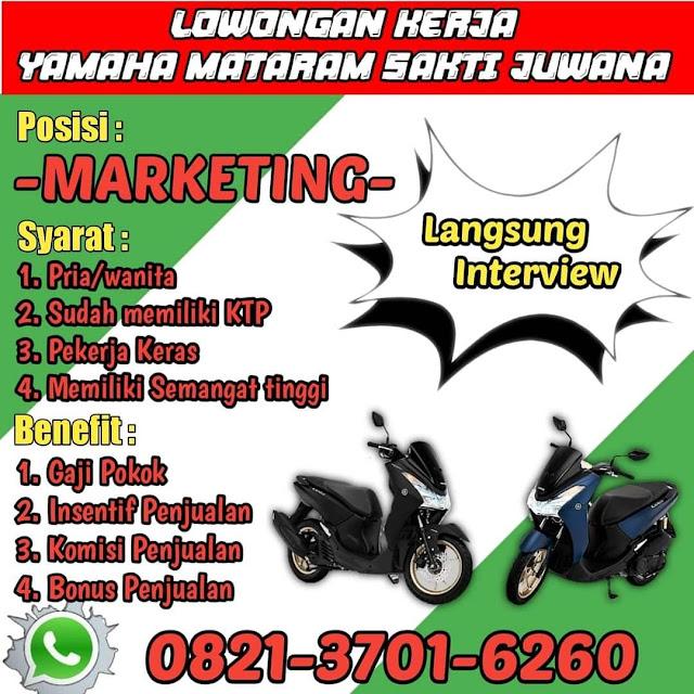 Lowongan Kerja Marketing Yamaha Mataram Sakti Juwana Pati