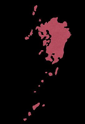九州地方の地図のイラスト(地方区分)県境なし