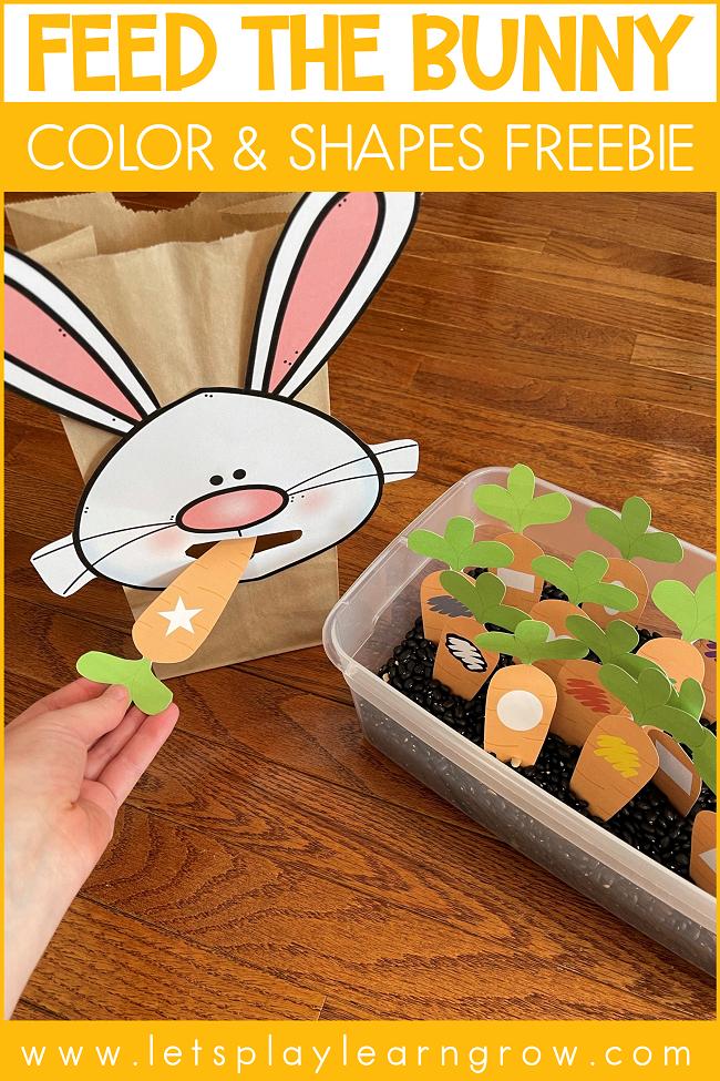 Feed the Bunny Color & Shapes Freebie Easter Freebie