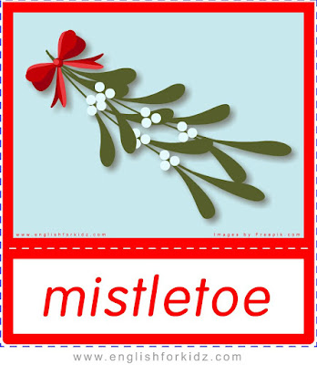 mistletoe, Christmas flashcards with words and pictures