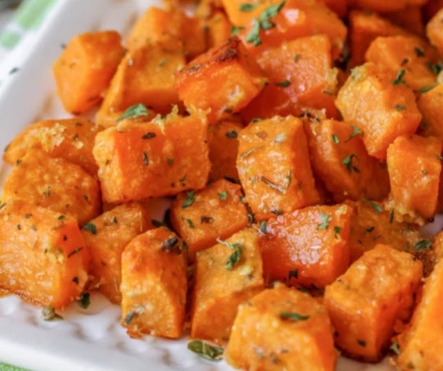 BAKED SWEET POTATO CUBES RECIPE