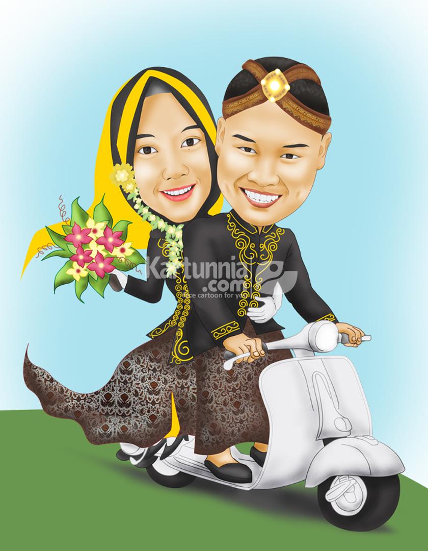 Karikatur Pernikahan Adat Jawa Naik Vespa Putih   Kartunnia.com