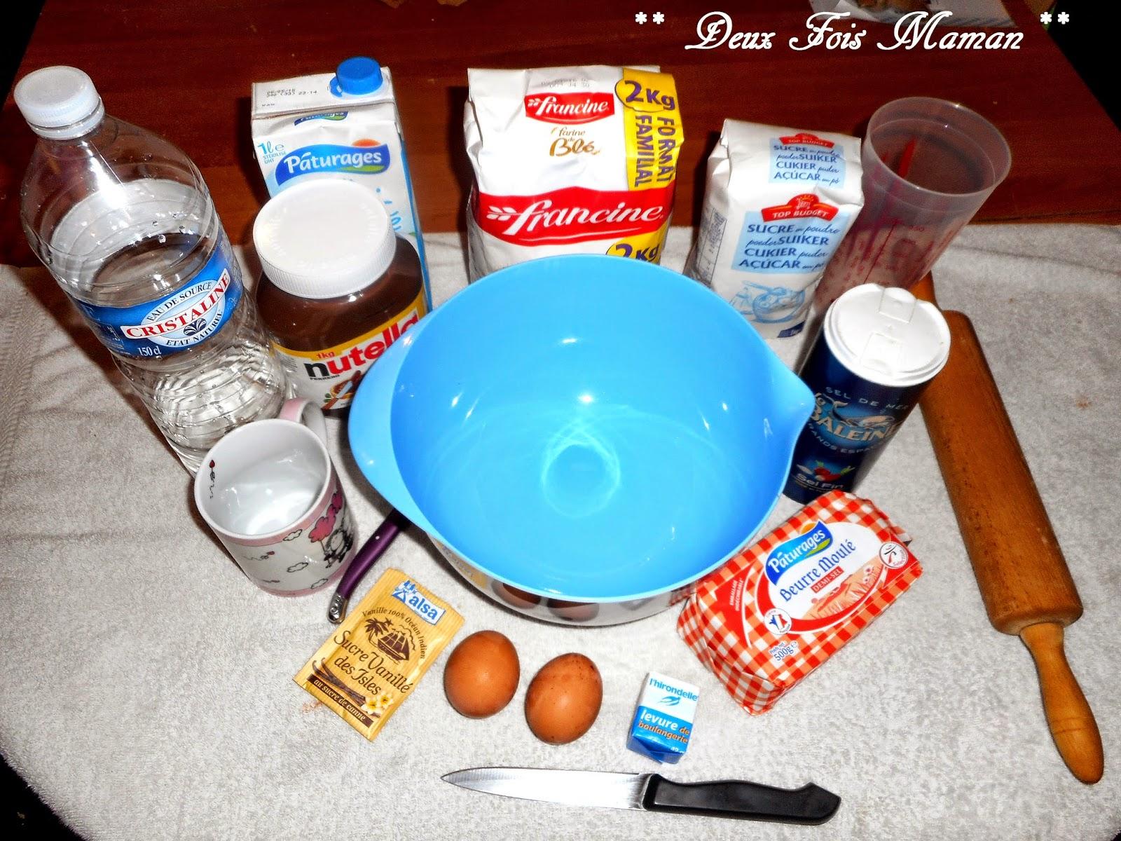 Ingrédients brioche étoilée au nutella