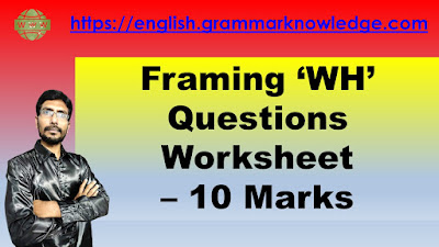 Framing 'WH' Questions Worksheet For Class - 10 English
