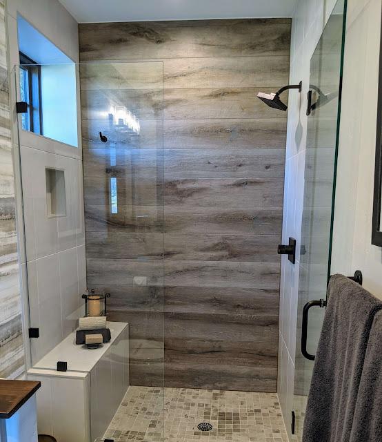 wood tile in shower