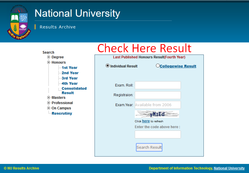 Nu Hons 4th Year Result
