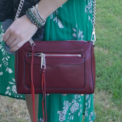 Rebecca Minkoff Avery crossbody bag in burgundy with green floral duster | away from the blue