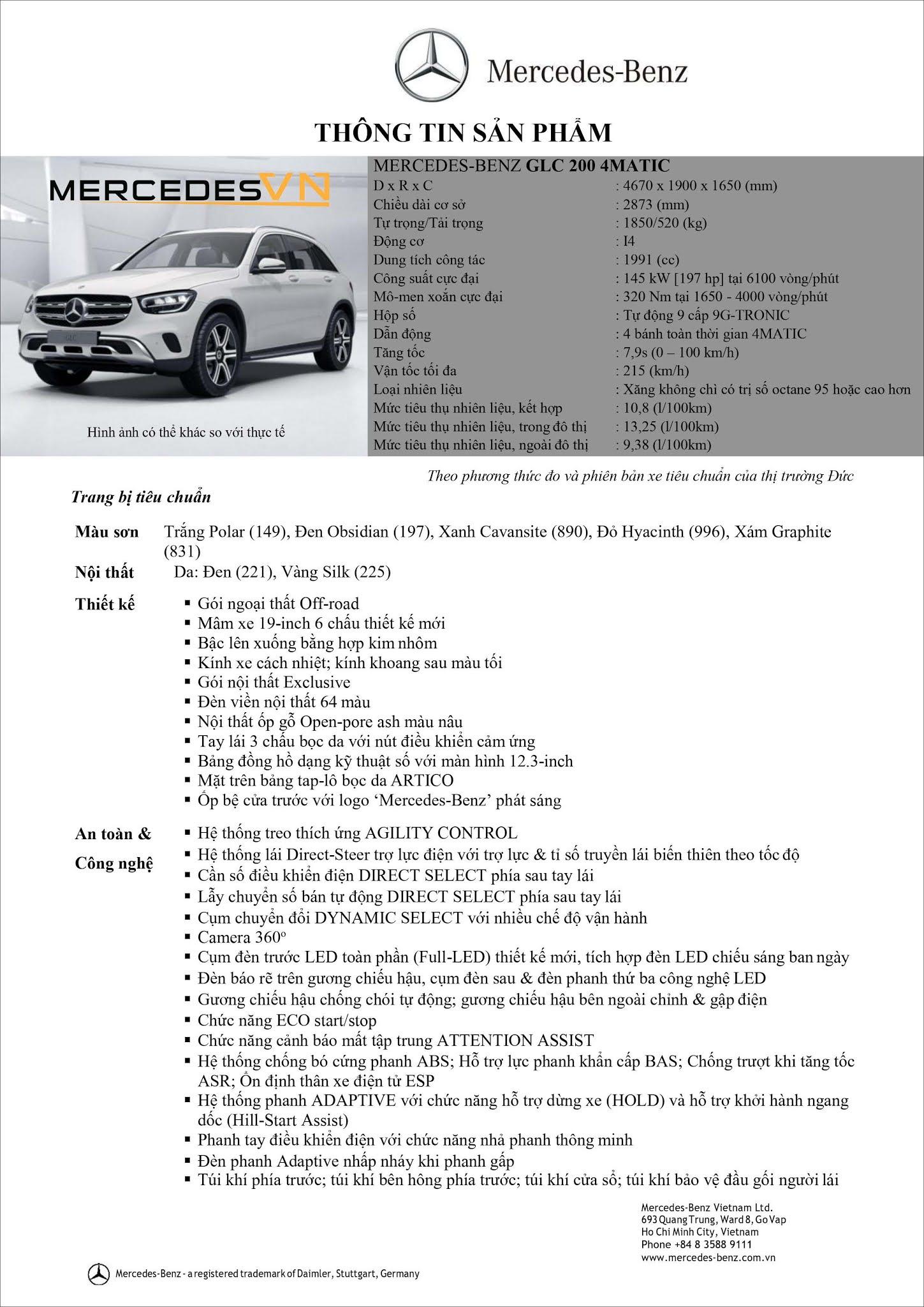 Bảng thông số kỹ thuật Mercedes GLC 200 4MATIC 2021