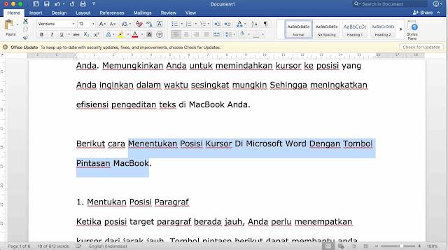 Menentukan Posisi Kursor Di Microsoft Word Dengan Tombol Pintasan MacBook
