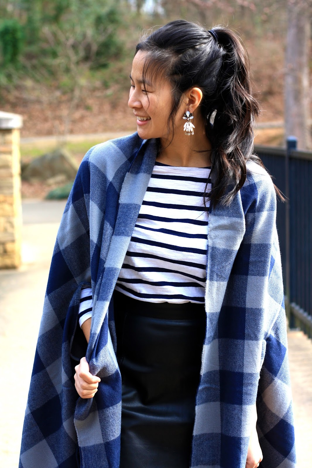 Stepping out of my comfort zone - blue and white pattern mixing outfit