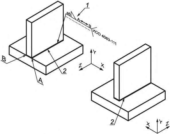 Рисунок 2 — Пример обозначения углового шва, выполненного между двумя точками А и В