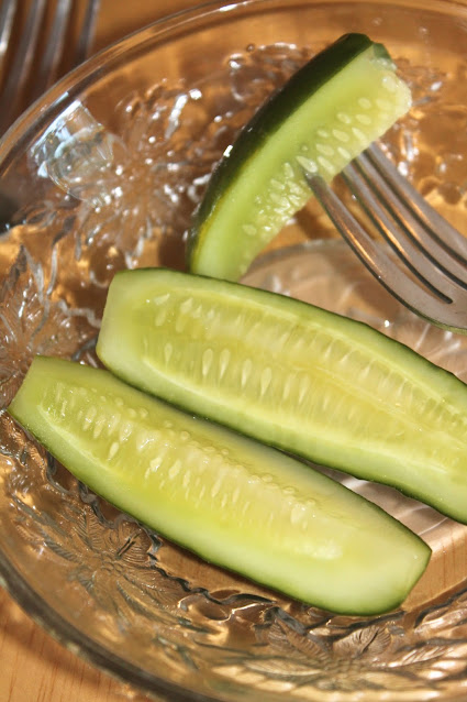 Close-up of finished refrigerator dill pickles.