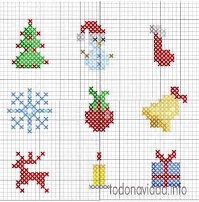 adornos navidad punto de cruz