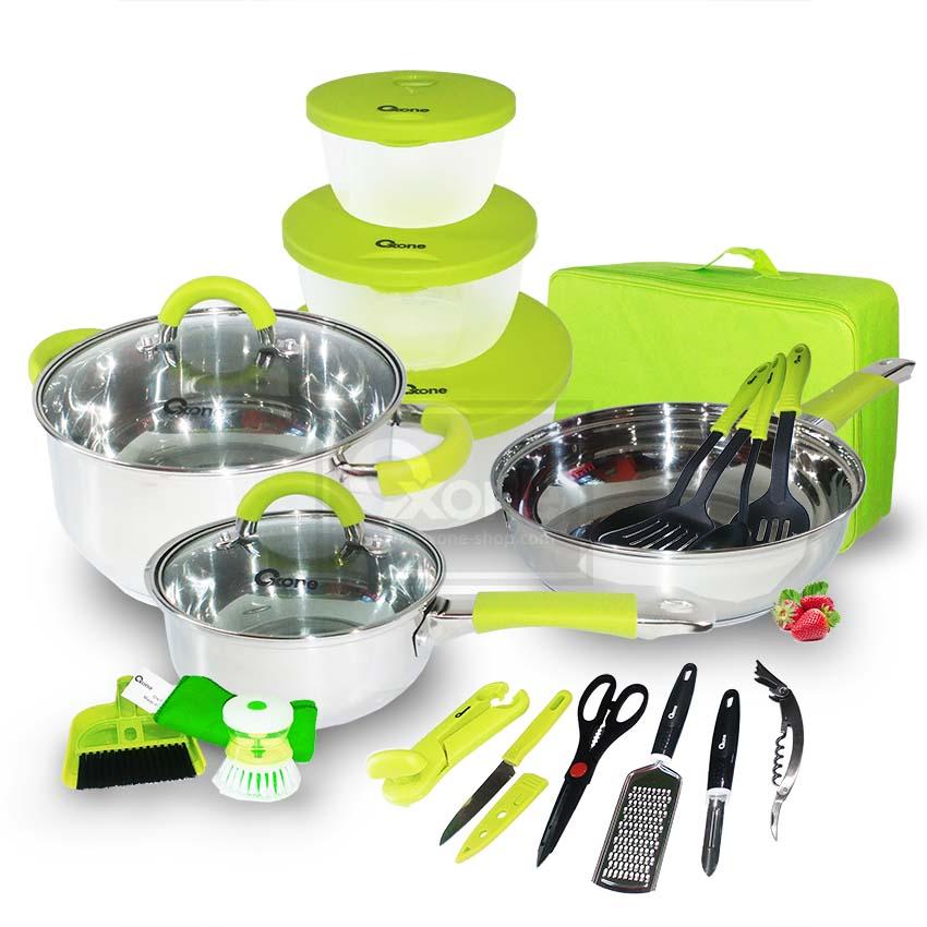 Kitchen Set Nuansa Hijau: Promo OX-992 23Pcs Oxone Travel Cookware Set -Hijau
