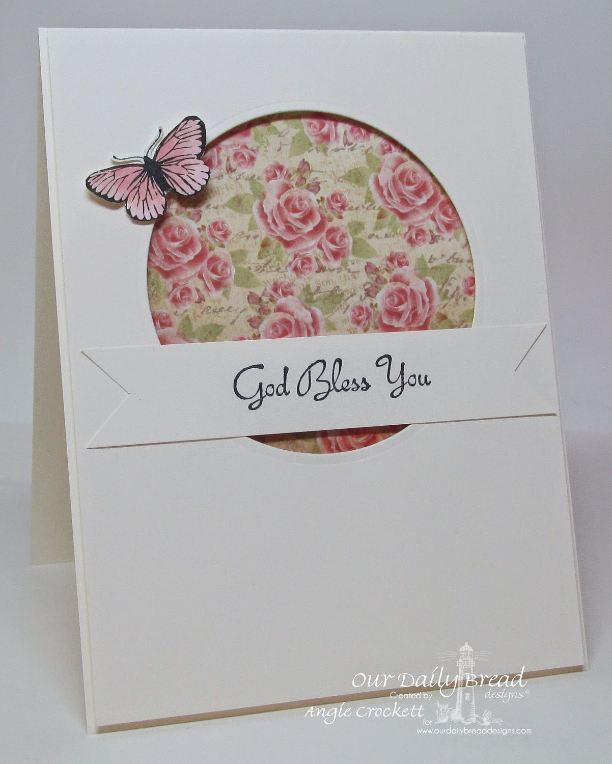 ODBD Rose, Stamped-By Butterfly Mini, Blushing Rose Designer Paper Collection, Card Designer Angie Crockett