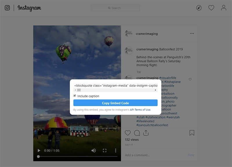 Screenshot of the embed option on a Cramer Imaging IGTV video