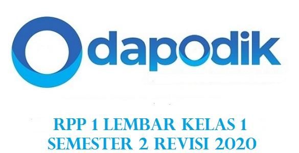 RPP 1 Lembar Kelas 1 Semester 2 Revisi 2020