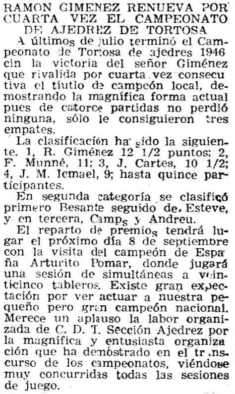 Noticia sobre el Campeonato de Tortosa de 1946