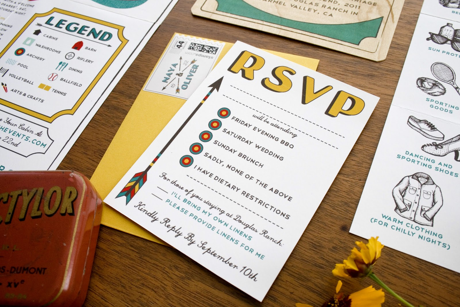 Camping Wedding Invitations: The Infinite Pattern: Vintage Camp Invitations