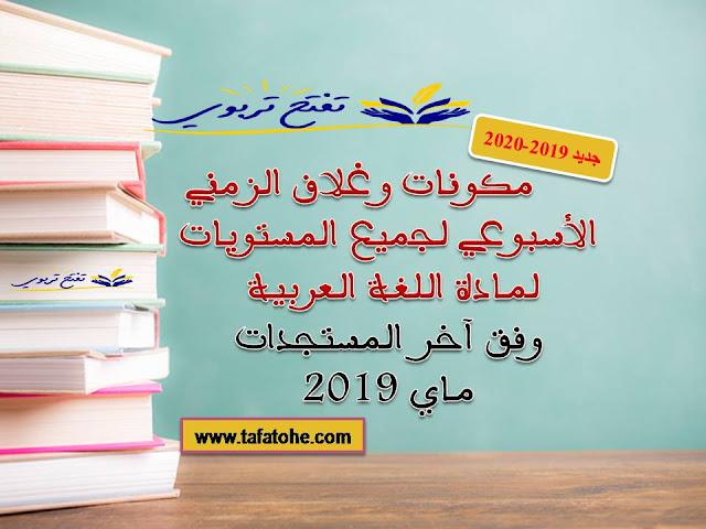 مكونات وغلاف الزمني الأسبوعي لجميع المستويات لمادة اللغة العربية وفق مستجدات 2019