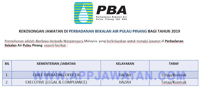 Jawatan Kosong Terkini di Perbadanan Bekalan Air Pulau Pinang.