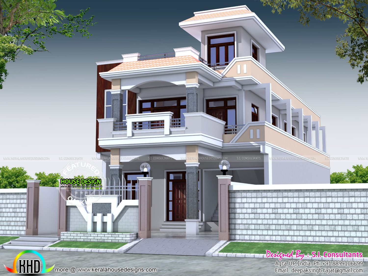 6 bedroom 3400 sq ft decorative home plan kerala home for Kitchen design 80 square feet