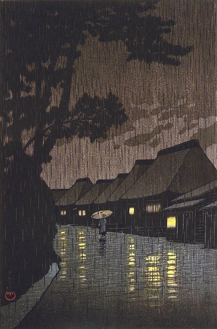 Kawase Hasui art, a parasol in the rain at night