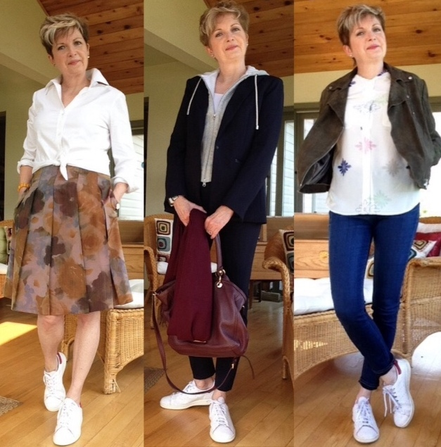 Stan Smith Adidas with white Theory shirt and Holt Renfrew skirt, blue Veronica Beard pant suit, Paige high-rise skinny jeans, Equipment blouse, khaki suede Twiggy jacket by M&S