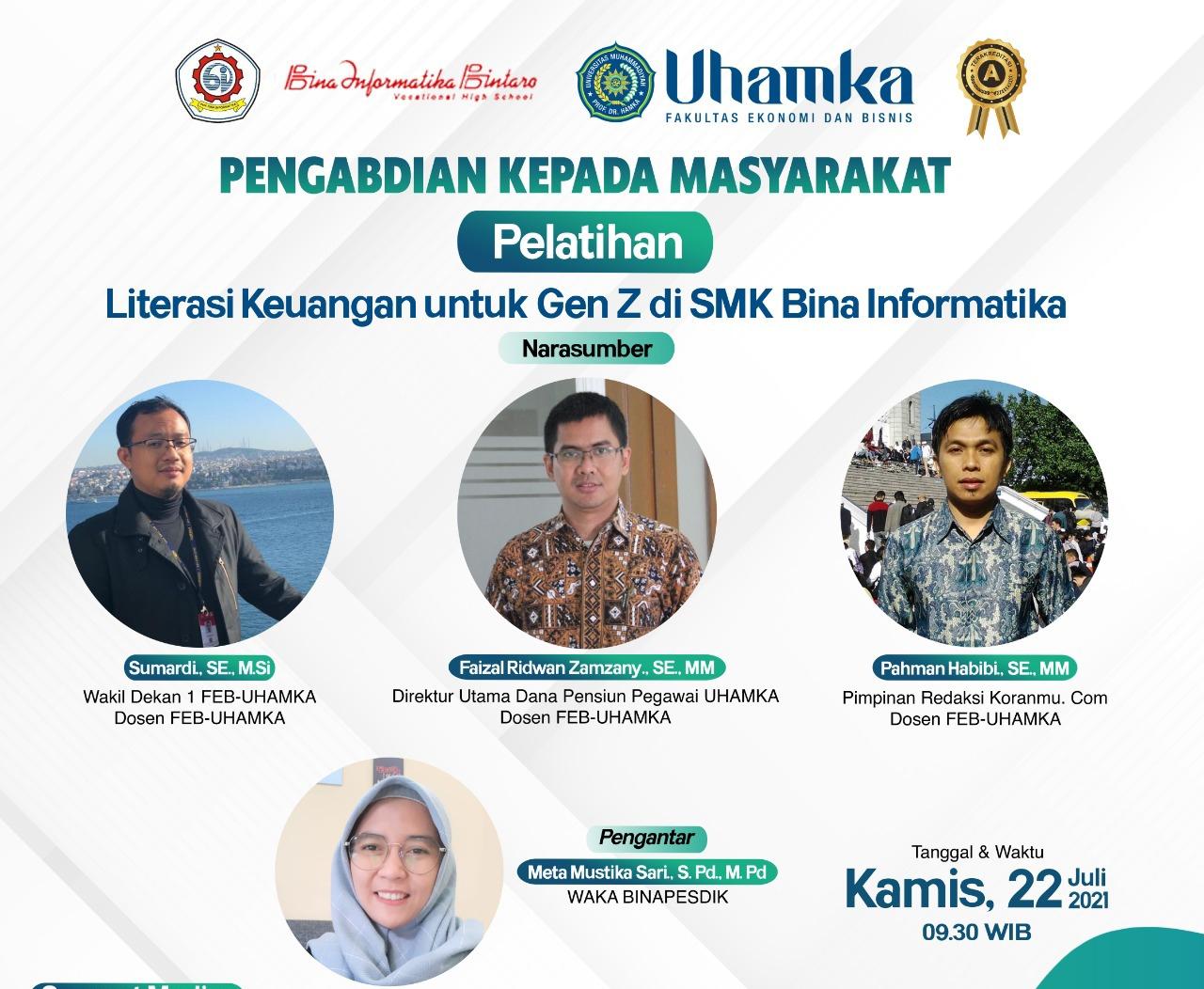 FEB UHAMKA Lakukan Literasi Keuangan Bagi Siswa SMK Bina Informatika