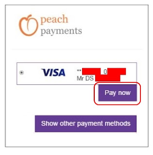 Select stored card - Hollywoodbets - Peach Payments Method