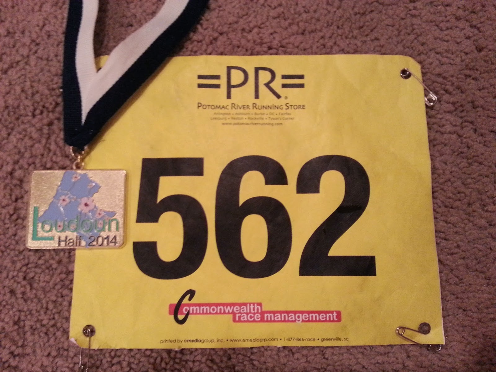 Loudoun Half bib and bling