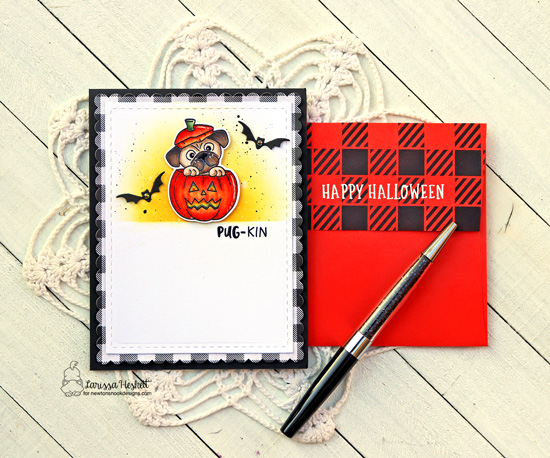 Pug Halloween Card by Larisa Heskett | Pug-kin Stamp Set, Frames & Flags Die Set and Gingham Stencil by Newton's Nook Designs #newtonsnook #handmade