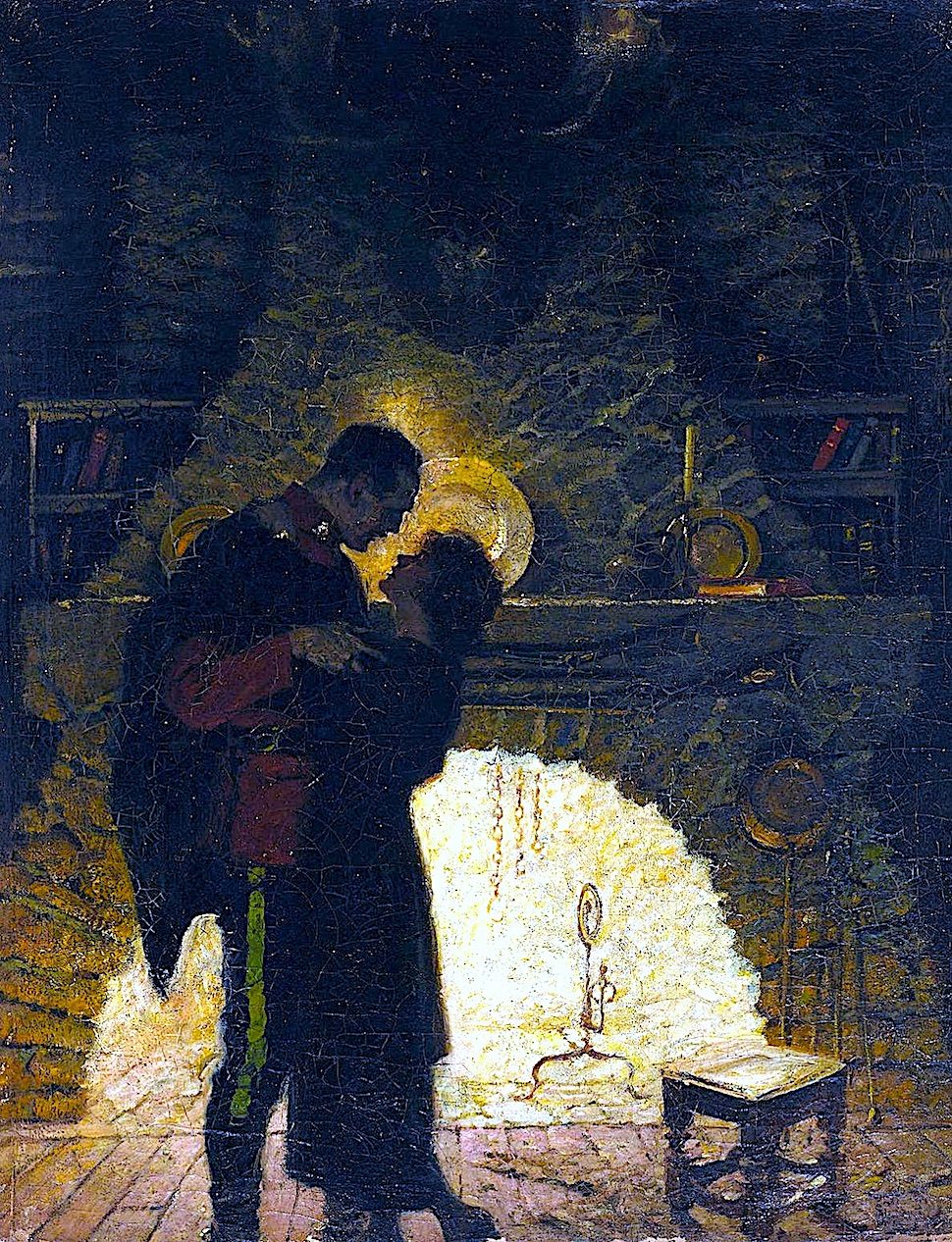 a Dean Cornwell illustration of a military officer kissing a woman in front of a burning fireplace