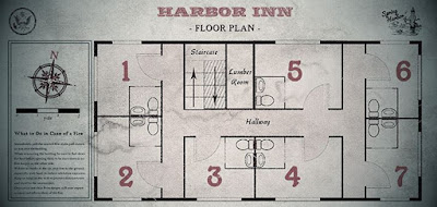 Figure: Figure: The hotel is dark and weird. You appear to be the only guest. At the reception desk, you find out that Martha stayed in the southeast room. To get the key, you have to find the room number on the map: