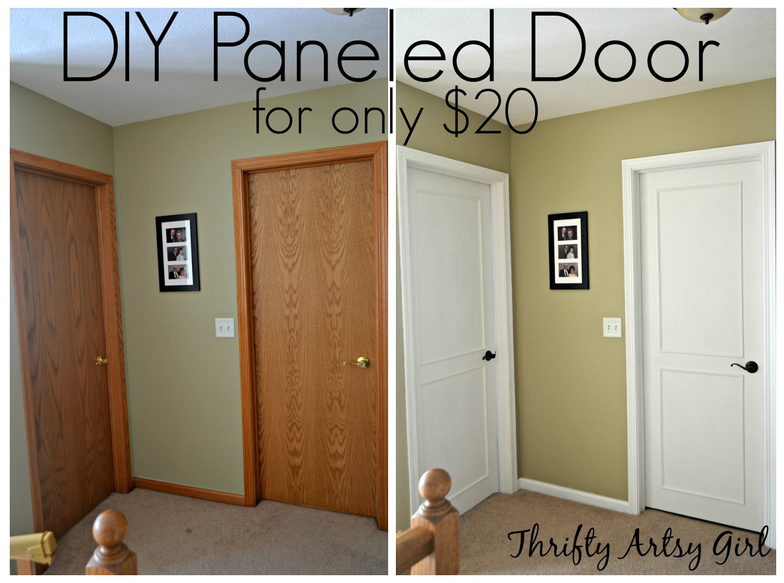 Thrifty artsy girl from hollow core bore to a beautiful updated door diy slab door makeover Best white paint for interior doors