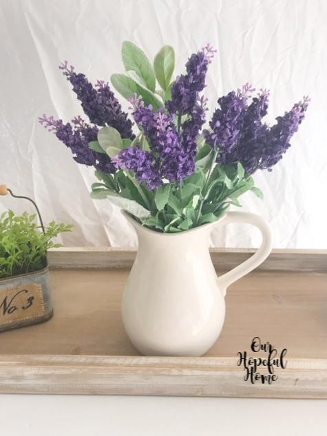 vintage ironstone pitcher purple flowers farmhouse decor