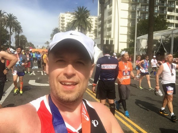 After 2015 LA Marathon finish Santa Monica