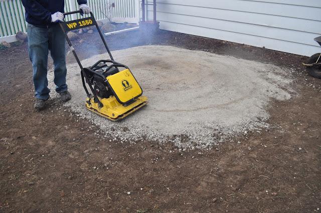 mulch, sod cutter, patio, pavers, DIY, landscaping, reno, compactor, pea gravel, dark brown shredded mulch, sand