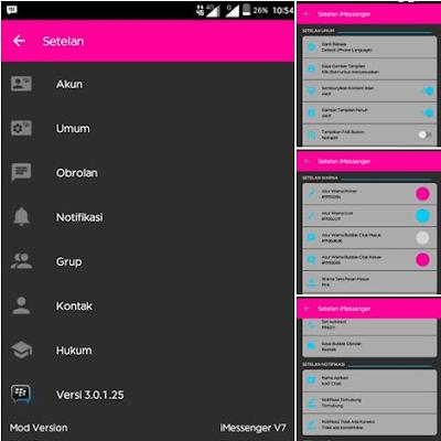 BBM MOD iMessenger v7 Dark Theme v3.0.1.25 Apk