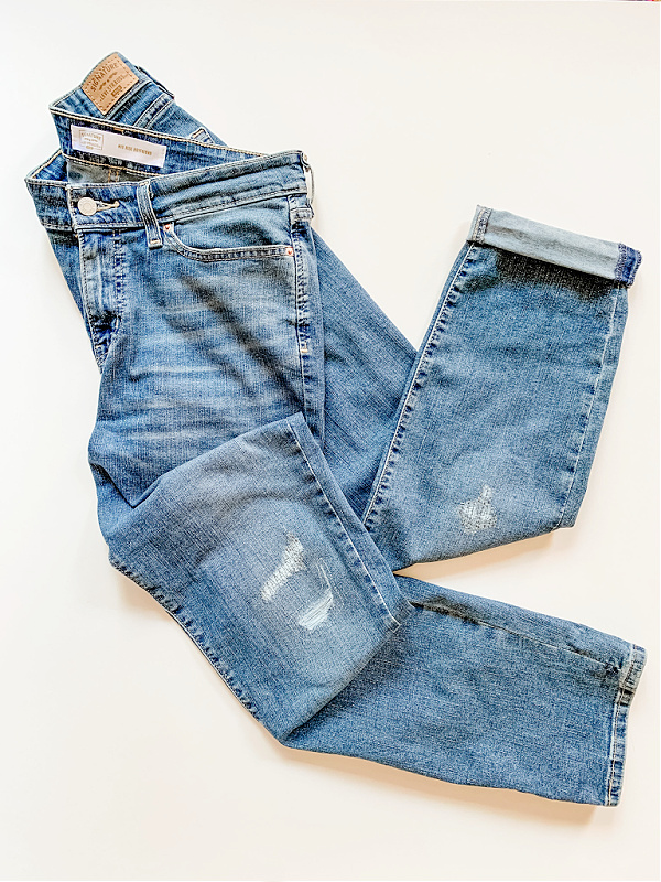 Affordable jeans, stretch jeans, distressed boyfriend jeans