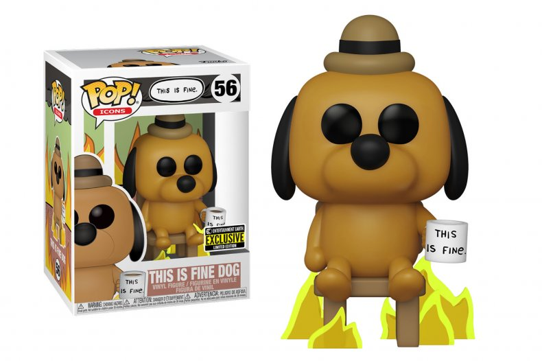 This Is Fine Dog sits calmly as the world burns around him. Funko