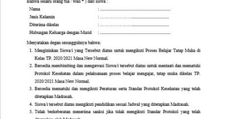 Contoh Surat Pernyataan Orang Tua Wali Murid Memberikan Izin Untuk Belajar Di Masa New Normal Admin Bawean